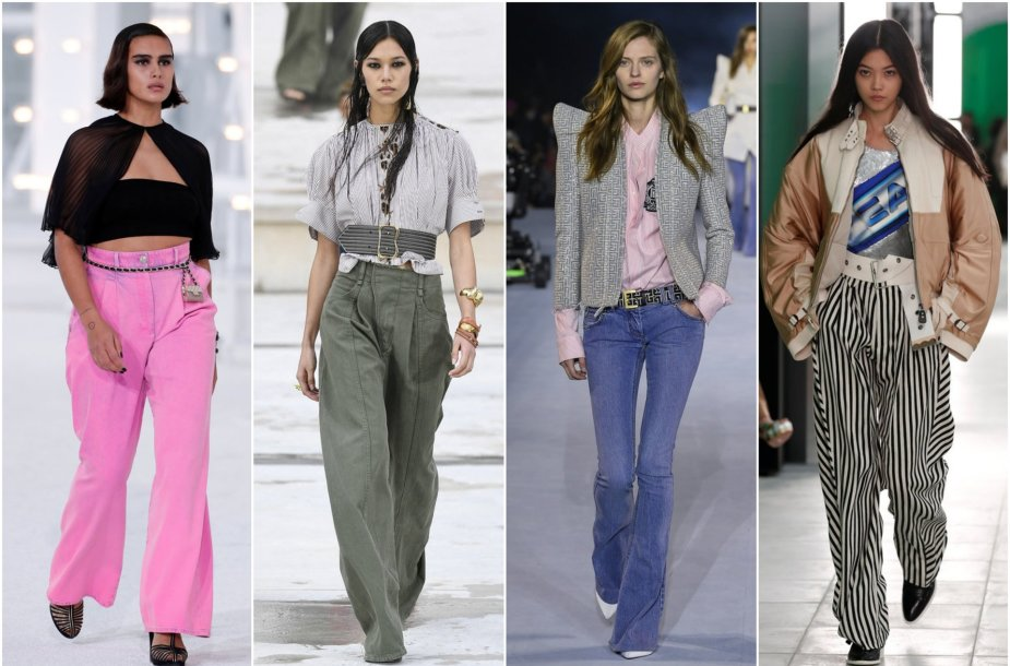 2021 m. pavasarį ir vasarą madingos plačios kelnės ir platėjantys džinsai