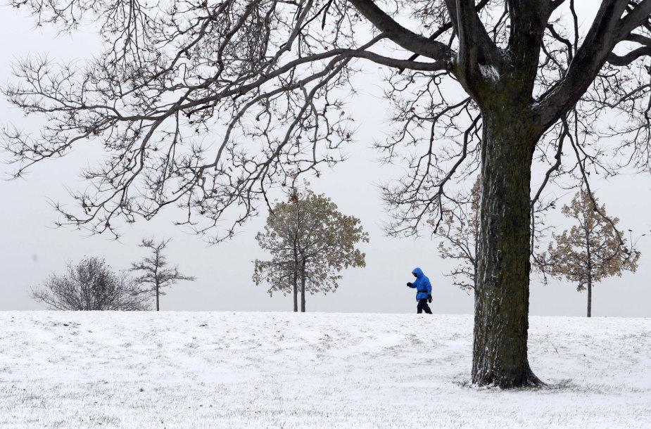 Iškritęs sniegas kausto Čikagą
