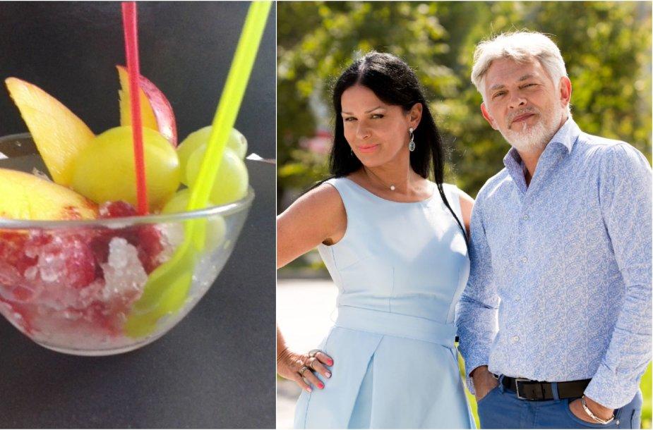 Jurga ir Paulius Jurkevičiai bei jų gamintas ledo kokteilis