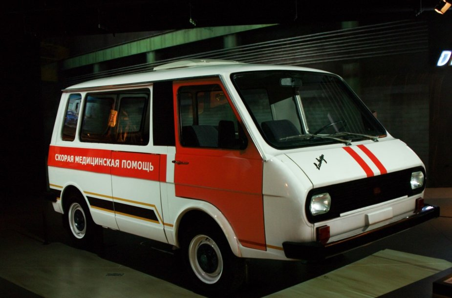 """Mikroautobusas """"Latvija"""" (RAF) Rygos automobilių muziejuje"""