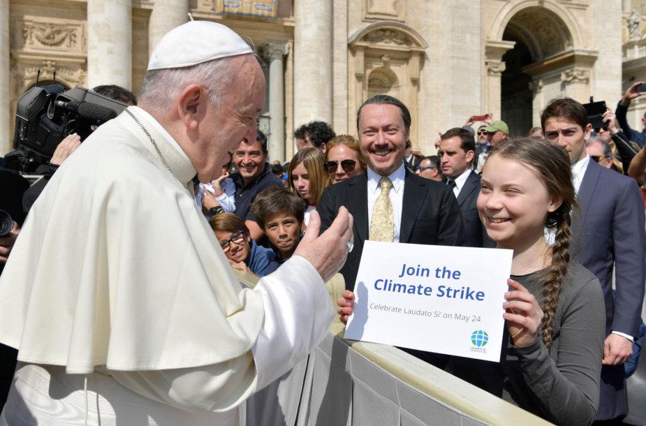 Popiežius Pranciškus ir  Greta Thunberg