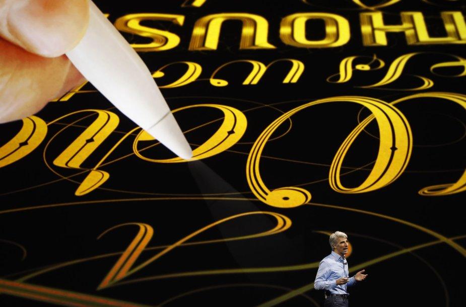 """Naujasis """"iPad Pro"""" ir  skaitmeninis rašiklis """"Apple Pencil"""""""