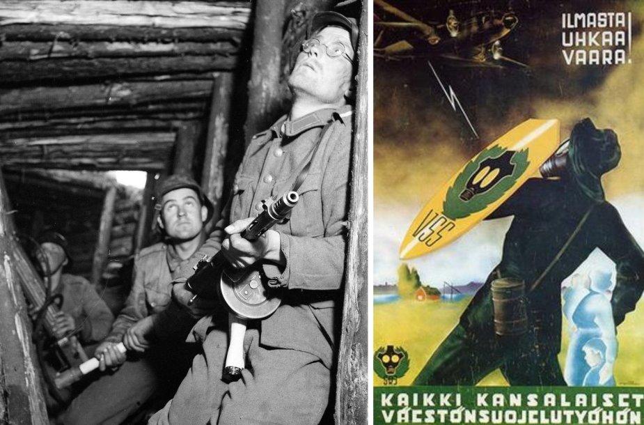 Suomių kariai 1944-aisiais ir Civilinės oro gynybos plakatas