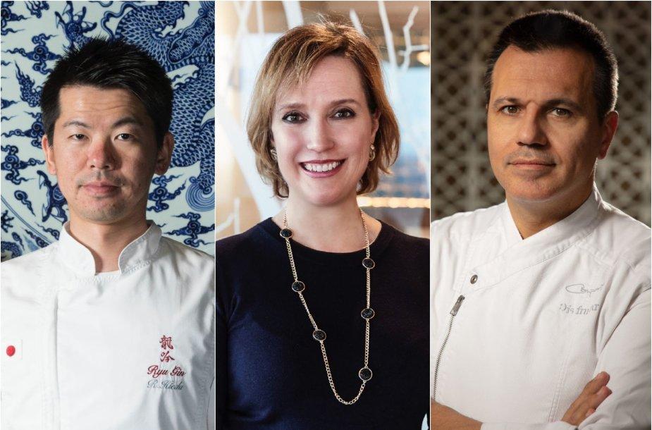 Lietuvos gastronomijos forumo svečiai: Ryohei Hieda, Virginia Anne Newton ir Oriol Castro