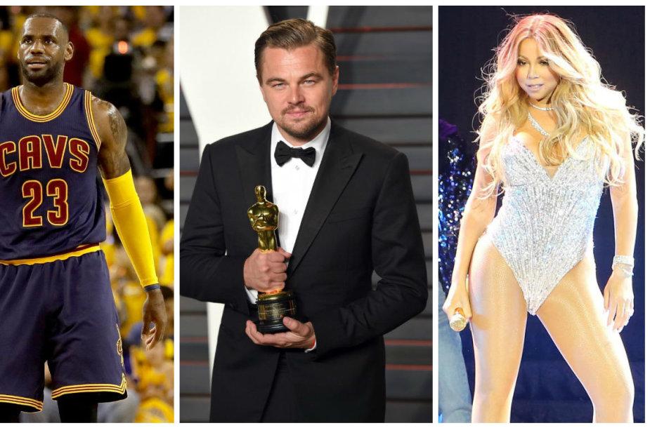 Lad Gaga, LeBronas Jamesas, Leonardo DiCaprio ir Mariah Carey