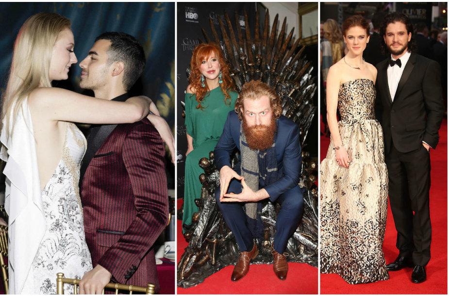 Jasonas Momoa su Lisa Bonet, Sophie Turner su Joe Jonu, Kristoferis Hivju su žmona Gry ir Kitas Haringtonas su Rose Leslie