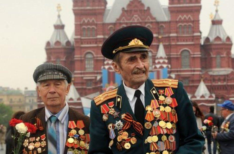 Antrojo pasaulinio karo veteranai Maskvos Raudonojoje aikštėje