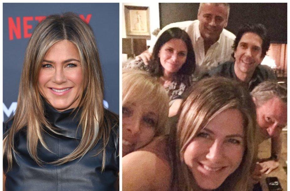 """Jennifer Aniston su kolegomis iš serialo """"Draugai"""""""