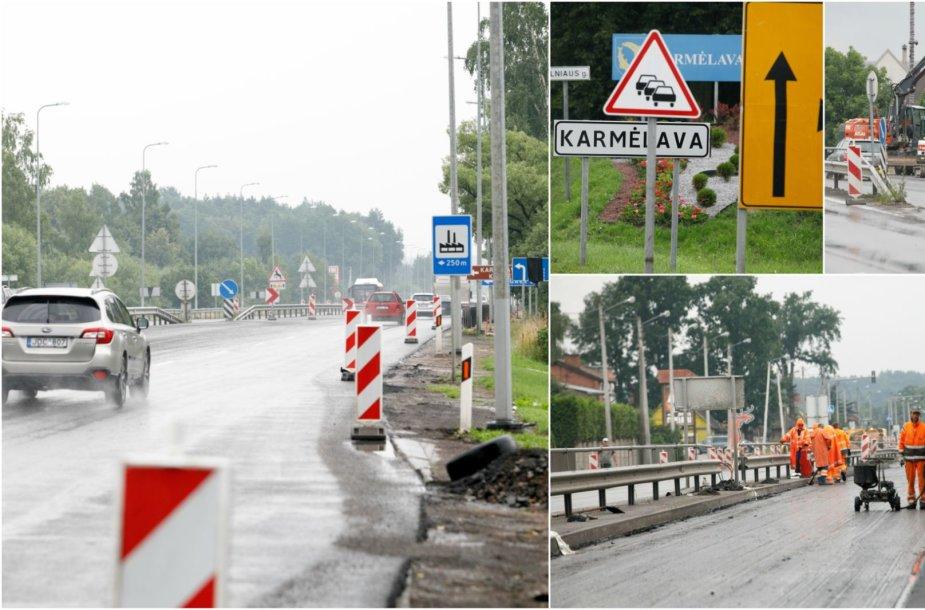 Kelio darbai tarp Kauno ir Karmėlavos