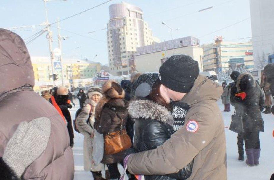 Jakutskas, bučinių konkursas Valentino dieną