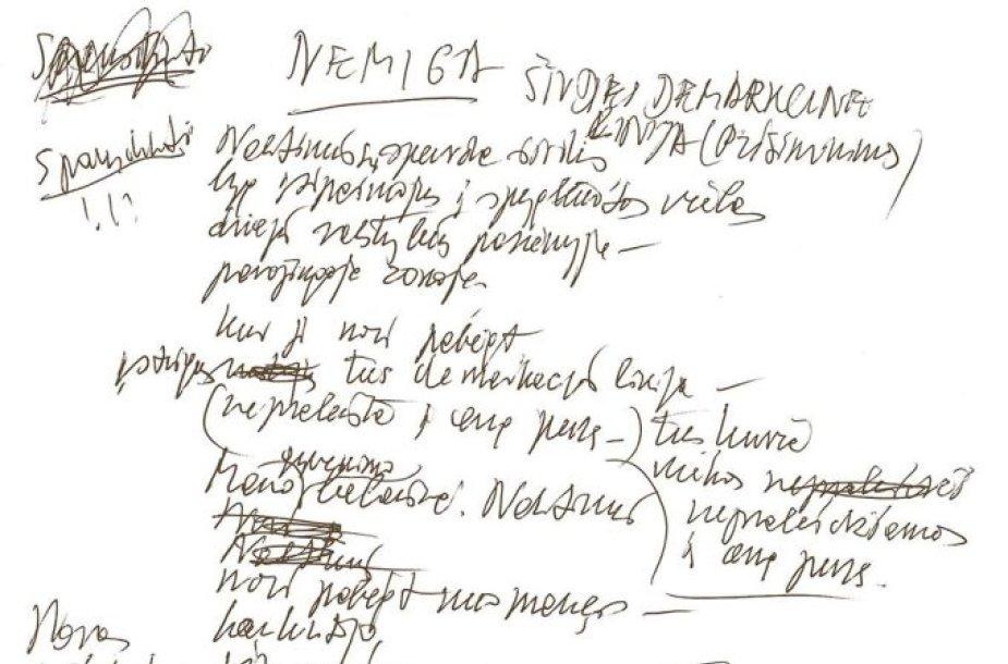 M.Martinaičio eilėraščio rankraštis