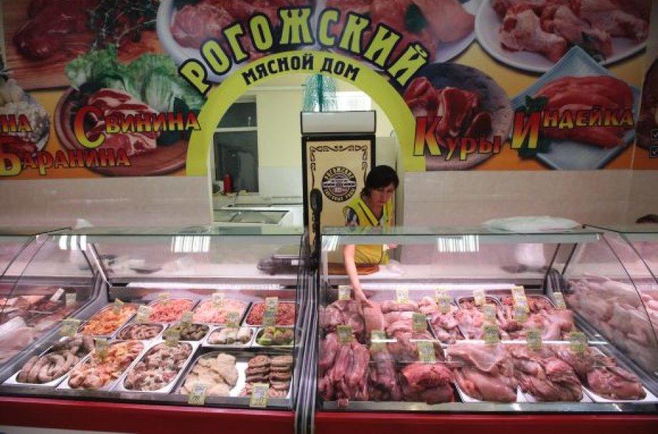 Mėsos skyrius vienoje Maskvos parduotuvėje