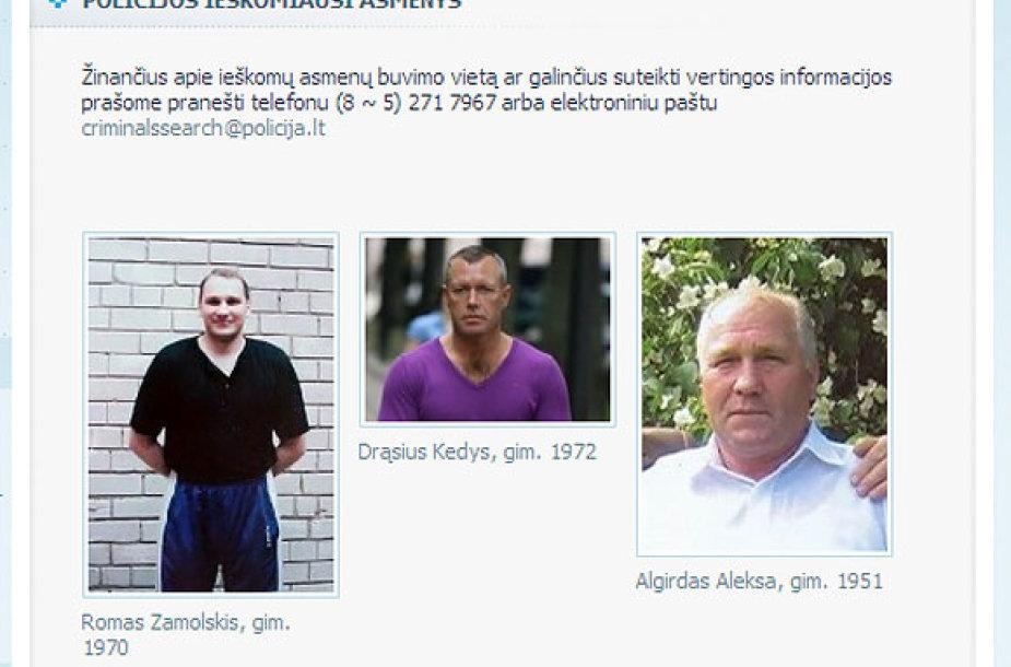 Policijos ieškomiausi asmenys