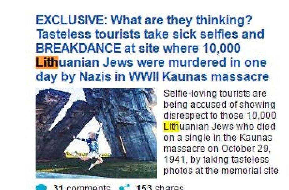 """""""Daily Mail"""" portale pasirodžiusio straipsnio antraštė"""