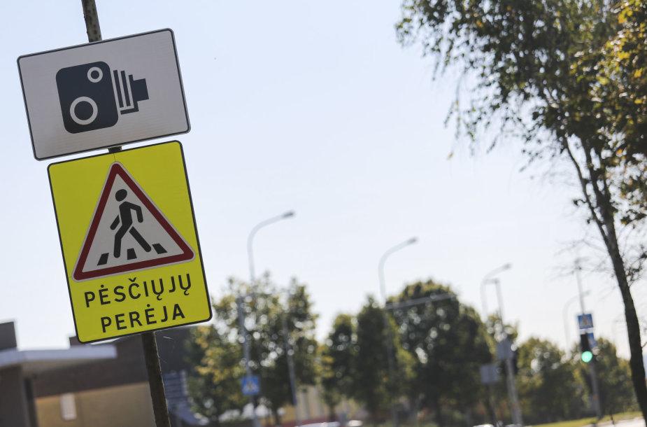 Šviesoforas su greičio matuokliu Kalvarijų gatvėje
