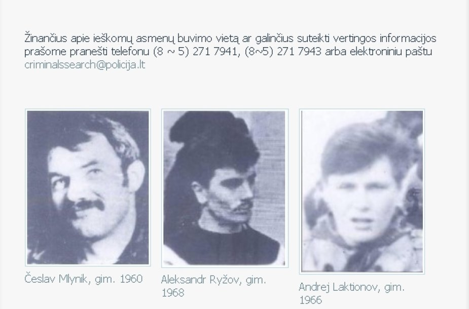 Įtariamieji Medininkų byloje Česlavas Mlinykas, Aleksandras Ryžovas ir Andrejus Laktionovas