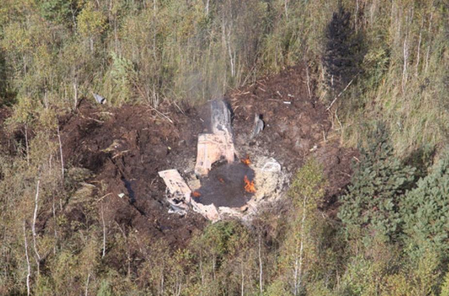 Lėktuvo nuolaužos katastrofos vietoje