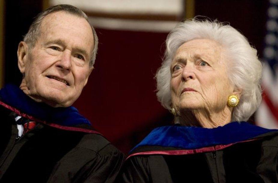 George'as Bushas ir Barbara Bush