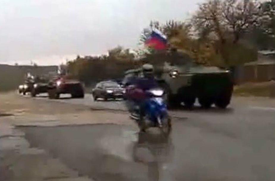 Rusiška karinė technika juda žemyninės Ukrainos link