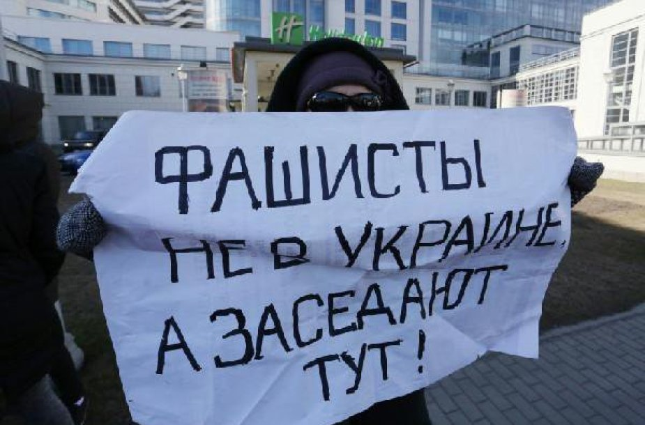 Protestas prieš fašistų sambūrį Sankt Peterburge.