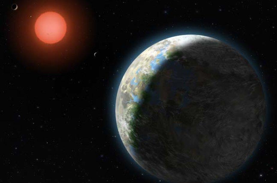"""""""Gliese 581 b"""" planeta, viena iš šešių žvaigždės """"Gliese 581"""" planetų. Lindy Elkins-Tanton ir jos kolegų sukurti modeliai verčia daryti išvadą, kad jeigu planeta pasižymi uolėtu paviršiumi, joje praktiškai iš karto po planetos atsiradimo susiformuodavo nedidelis vandenynas."""