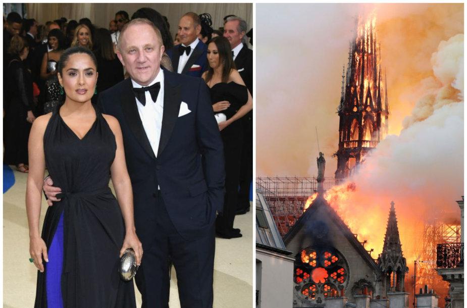 Salma Hayek ir Francois-Henris Pinaultas; deganti Paryžiaus Dievo Motinos katedra