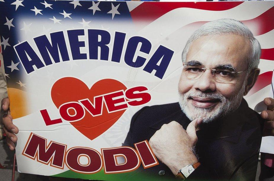 Indijos premjeras Narendras Modis vieši JAV