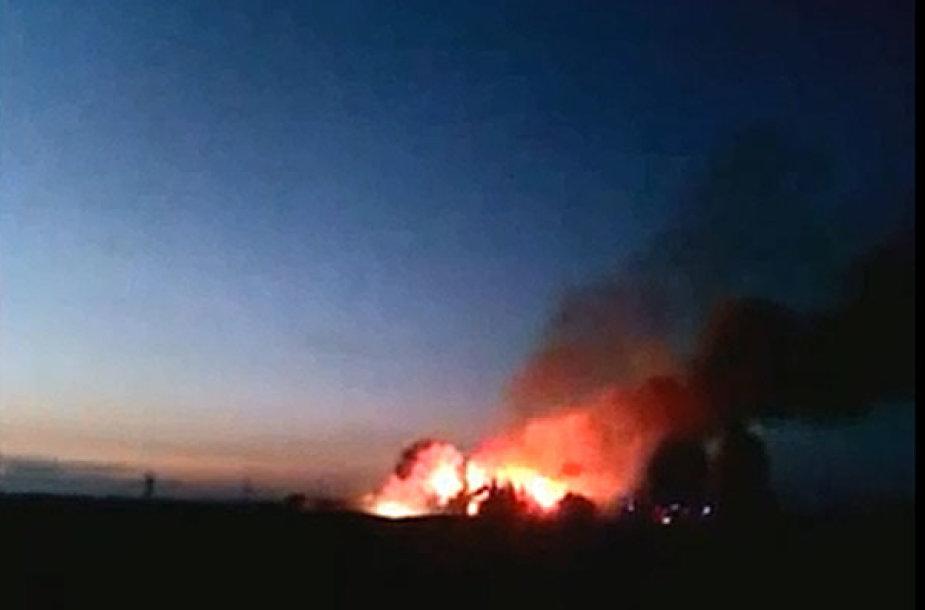 Dega ūkinis pastatas Marijampolės pašonėje