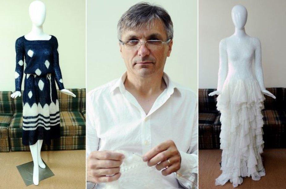 Valentinas Kairys su savo kurtomis suknelėmis
