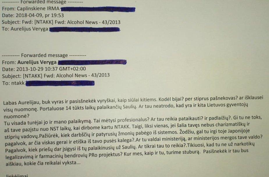 I.Čaplinskienės laiškas A.Verygai