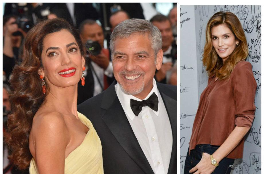 George'as ir Amal Clooney ir Cindy Crawford