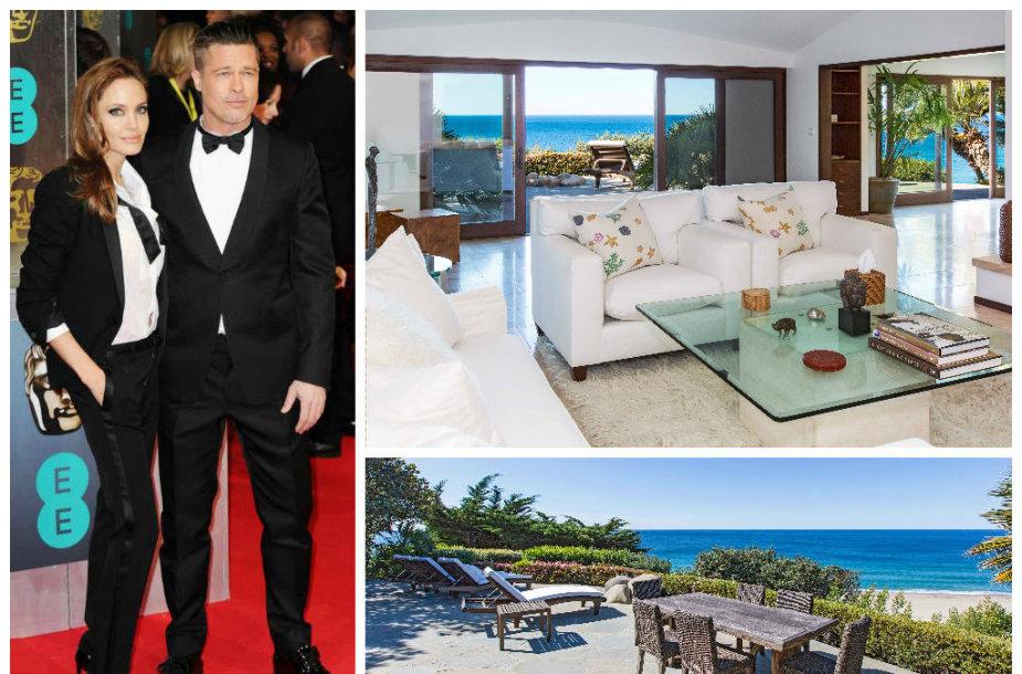 Angelina Jolie po skyrybų su Bradu Pittu persikėlė gyventi į išnuomotą vilą Malibu