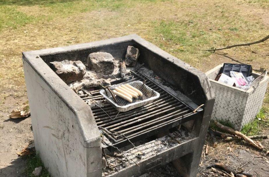 Vilniečiai dešreles kepė stacionariame ugniakure