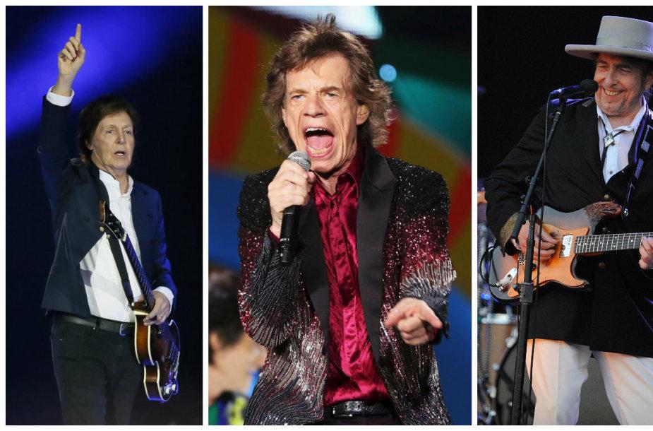 """Paulas McCartney, """"The Rolling Stones"""" lyderis Mickas Jaggeris ir Bobas Dylanas"""