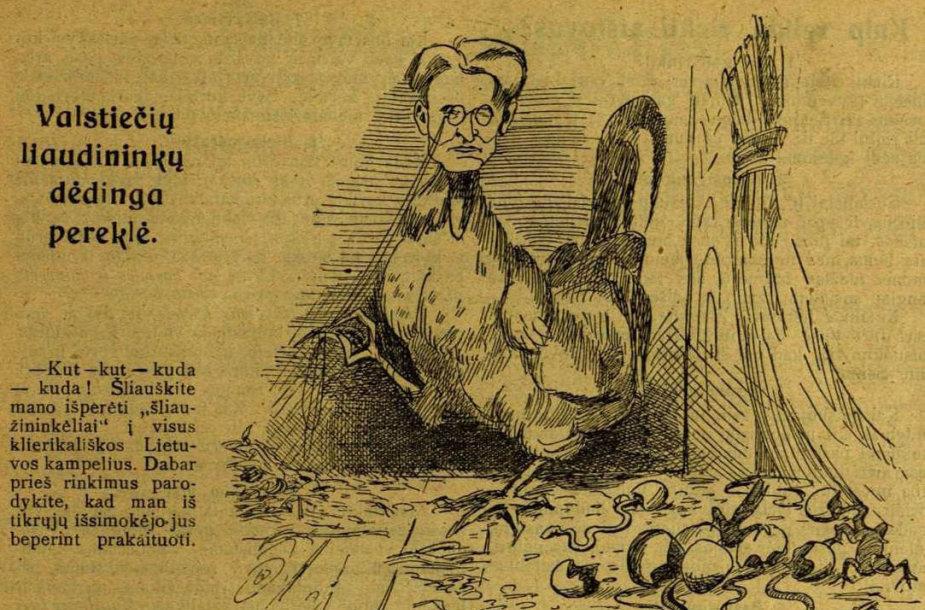 """Kazį Grinių pašiepianti karikatūra """"Tėvynės sarge"""" 1926 m."""