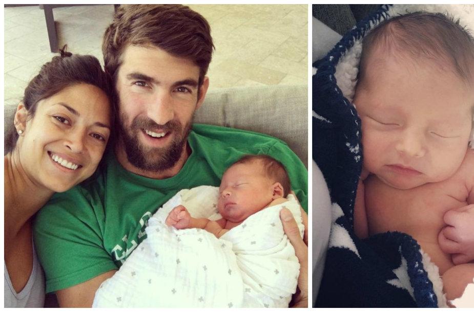 Michaelas Phelpsas ir Nicole Johnson su sūnumi Boomeriu