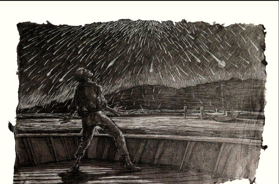 XIXa. pradžios graviūroje – įspūdžio priblokštas meteorų lietaus stebėtojas