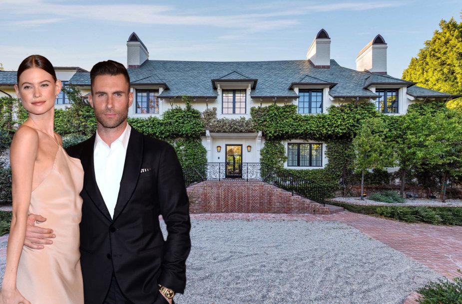Adamas Levine'as su žmona Behati Prinsloo; parduodamas namas