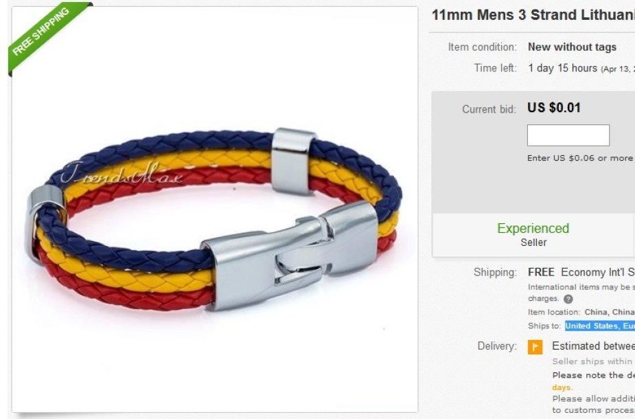 """Kinas """"eBay"""" parduoda """"Lietuvos vėliavos spalvų vyrišką apyrankę""""."""