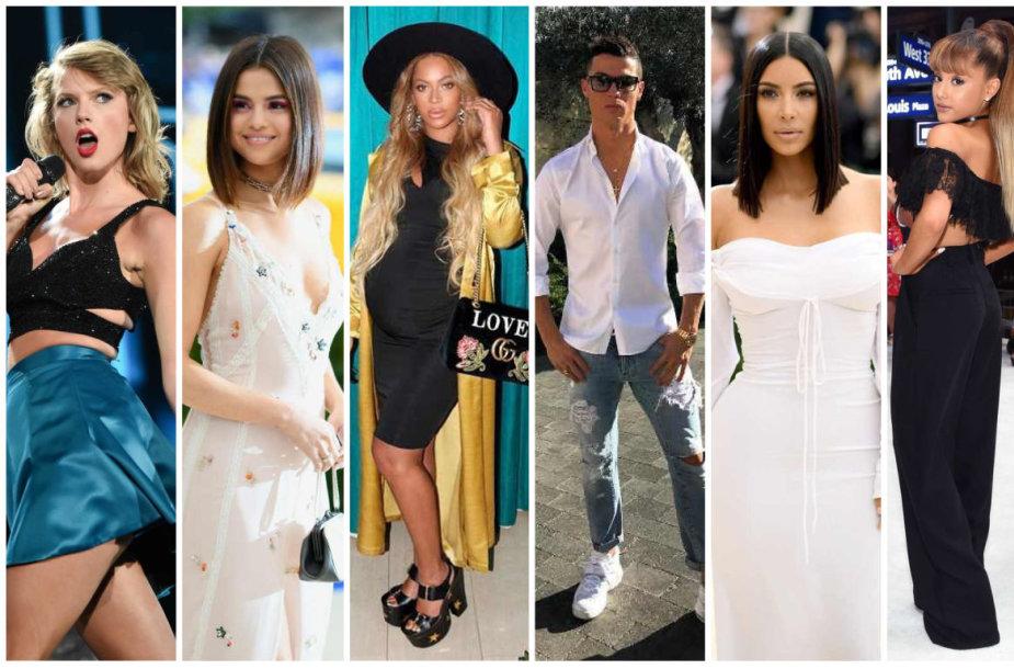 Taylor Swift, Selena Gomez, Beyonce, Cristiano Ronaldo, Kim Kardashian ir Ariana Grande