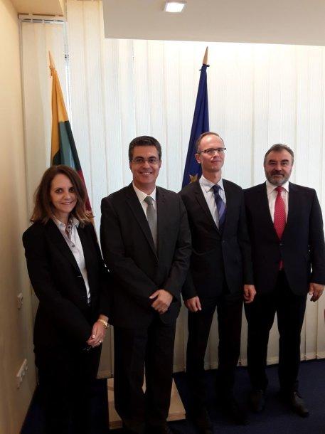 (Iš kairės) EŽTT teisėja Marialena Tsirli, EŽTT pirmininko pavaduotojas Linos-Alexandre'as Sicilianos, LAT teisėjas R.Norkus ir EŽTT teisėjas E.Kūris.