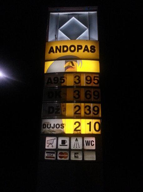 Degalų kainos Šilutėje  gruodžio 3 d.