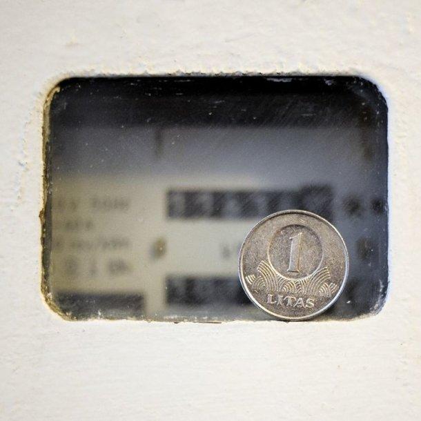 Litas priešais elektros skaitliuką