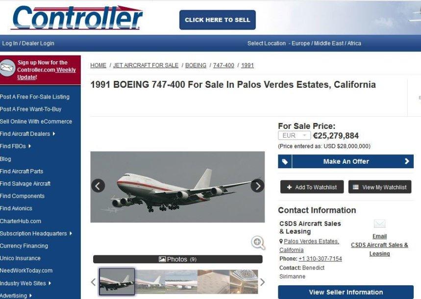 """Unikalus pasiūlymas: parduodamas VIP klasės """"Boeing 747-400"""""""