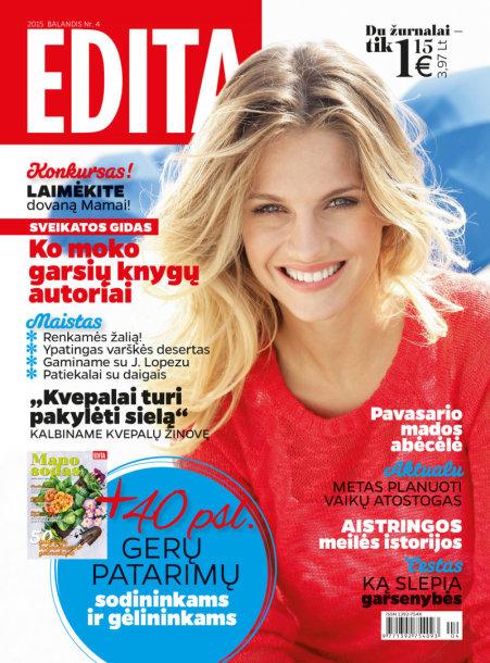"""Archyvo nuotr./Žurnalo """"Edita"""" balandžio mėnesio viršelis."""