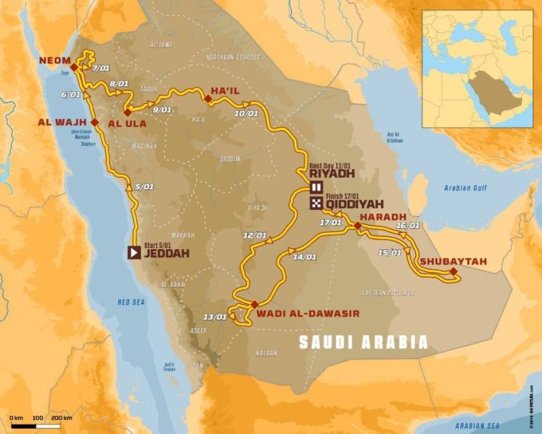 Dakaro ralis 2020 m., trasa