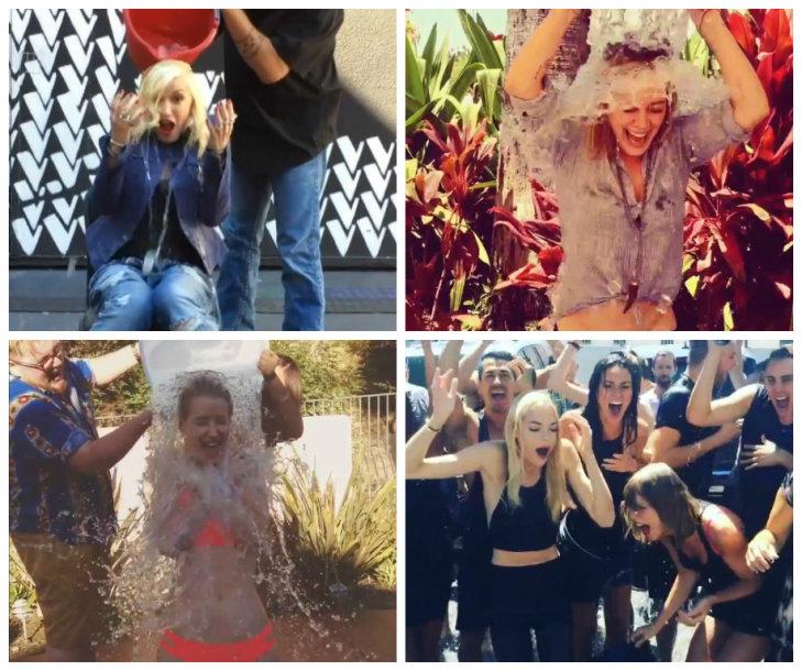 Garsenybės masiškai priima ledinio kibiro iššūkį (iš kairės): Gwen Stefani, Hilary Duff, Iggy Azalea, Jaime King ir Taylor Swift