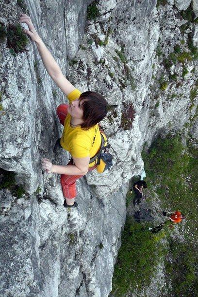Sportinis laipiojimas Čekijoje esančiose uolose.