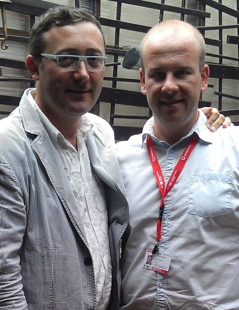 Transilvanijos kino festivalio direktorius Tudoras Giurgiu su Algirdu Ramaška