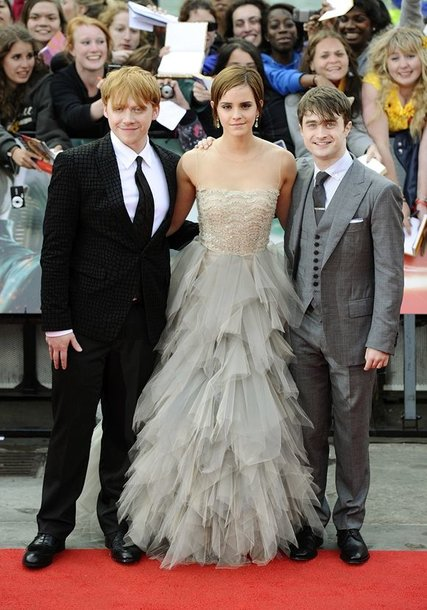 Rupertas Grintas, Emma Watson ir Danielis Radcliffe'as (dešinėje)